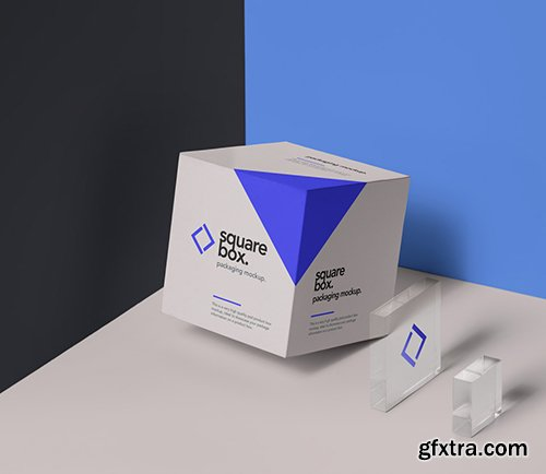 Square Psd Box Packaging Mockup PSD