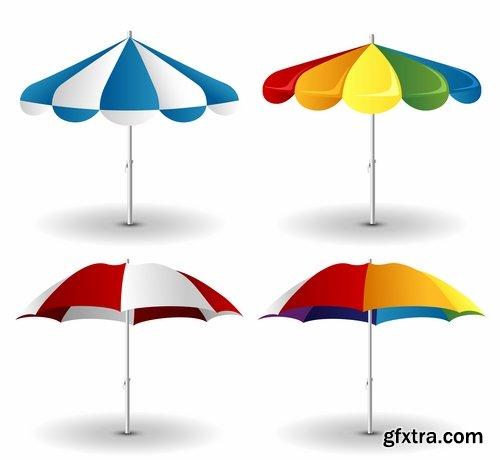 Beach umbrella illustration summer beach vacation beach vacation parasol 25 EPS