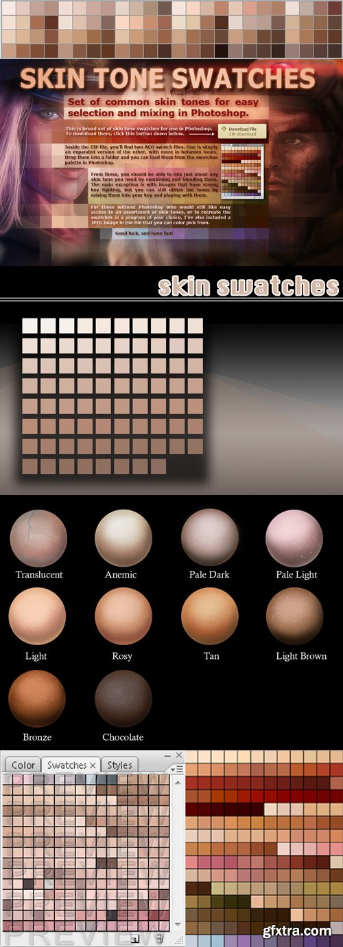 Skin Tone Swatches for Photoshop (ACO)