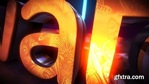 Videohive Golden Neon Logo Intro 21255299