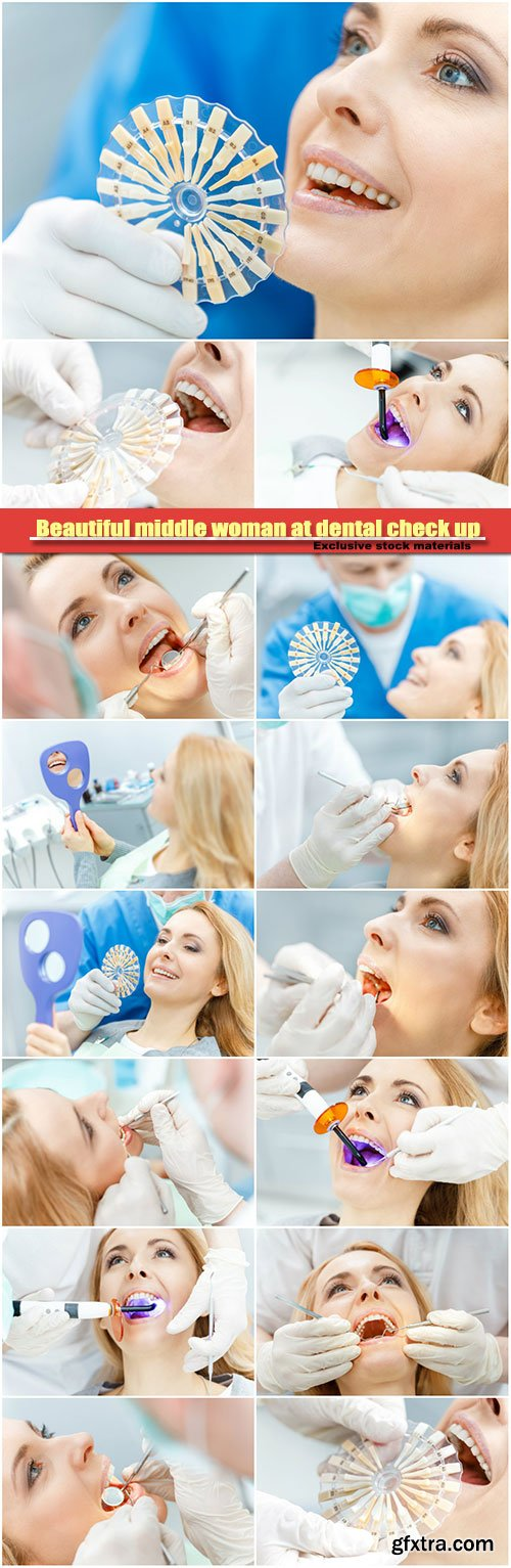 Beautiful middle woman at dental check up, comparing teeth of patient with samples