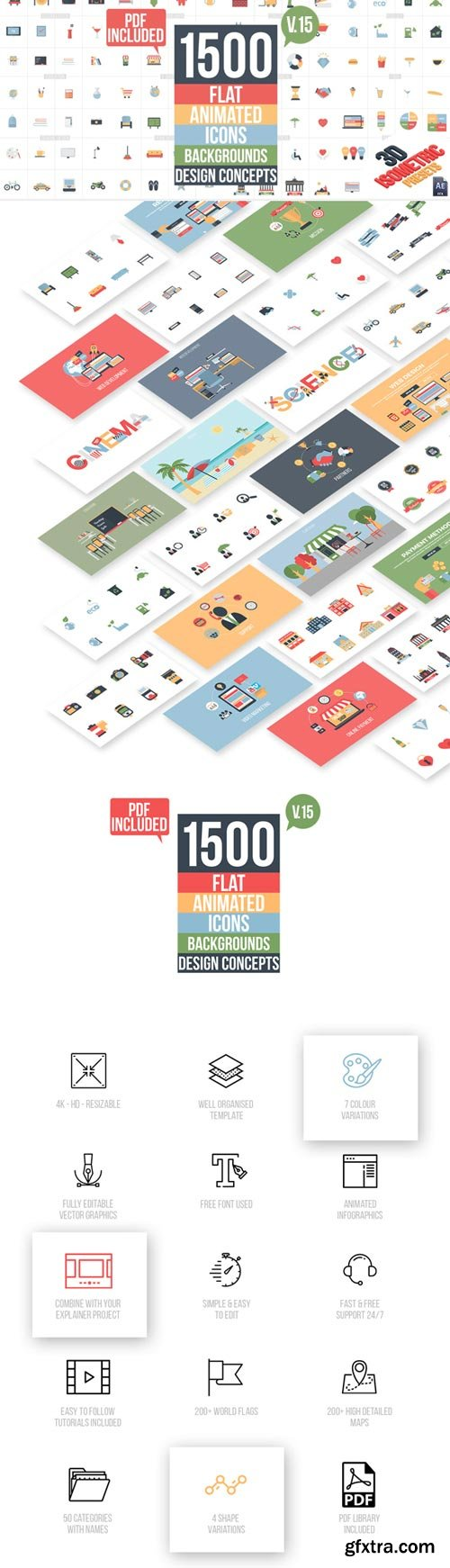 Videohive - Flat Animated Icons Library V16 - 11453830 (Updated 24 January 18)