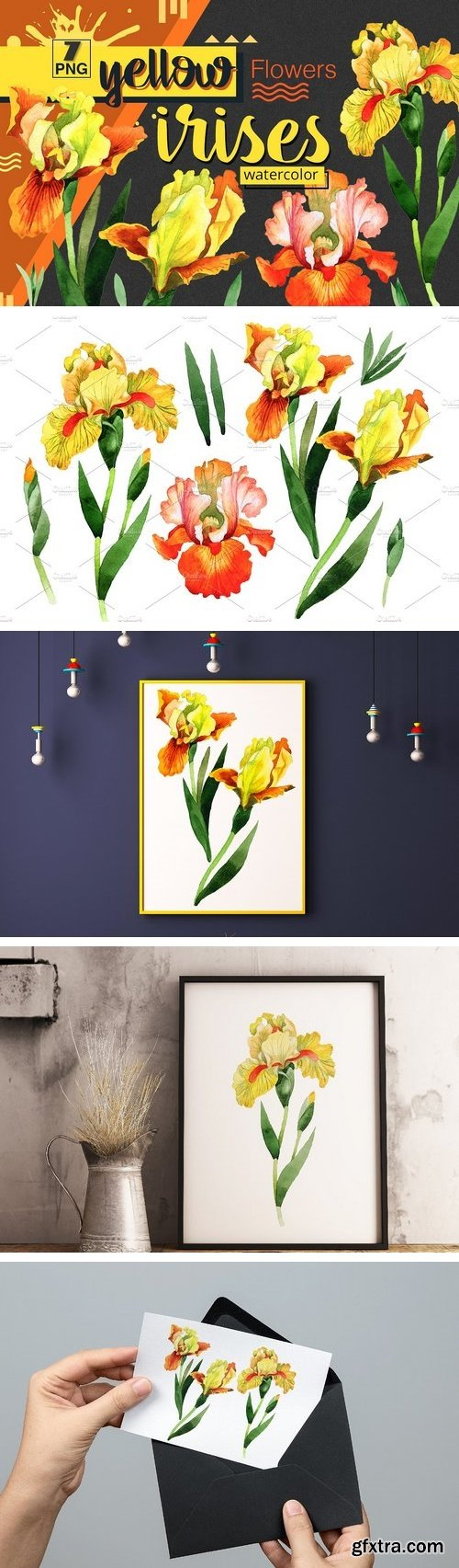 CM - Yellow irises watercolor PNG clipart 1539921