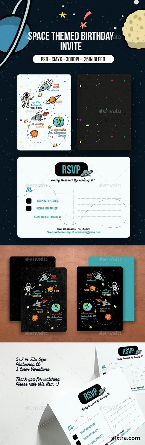 Graphicriver - Space Themed Birthday Party Invitation 14536666