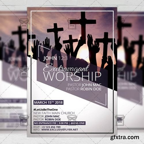 Extravaganza Worship – Community A5 Flyer Template