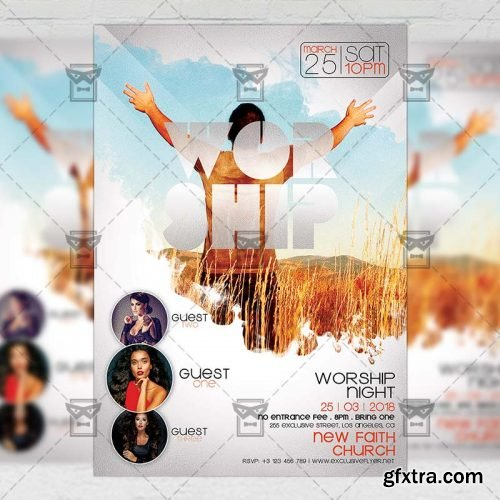 Worship Night – Community A5 Flyer Template