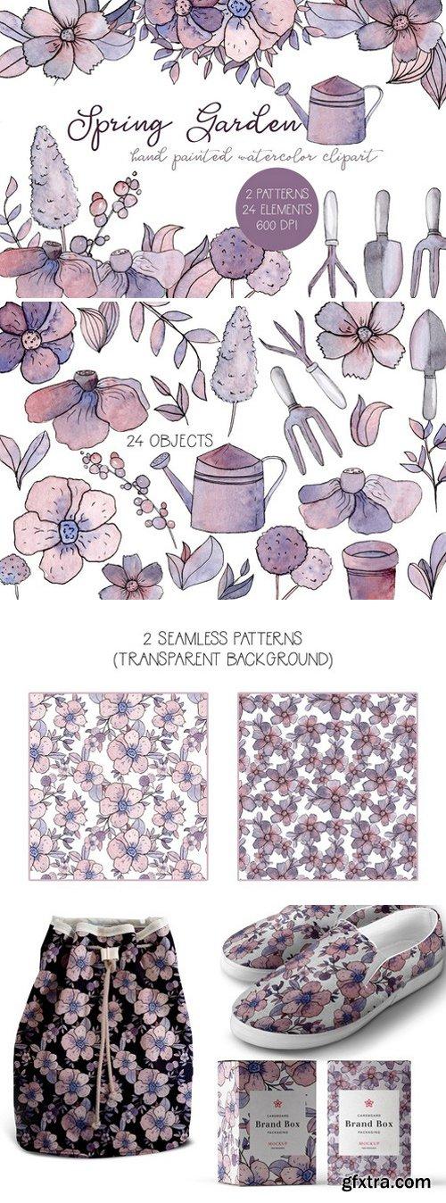 CM - Spring Garden Watercolor Clipart Set 2314200