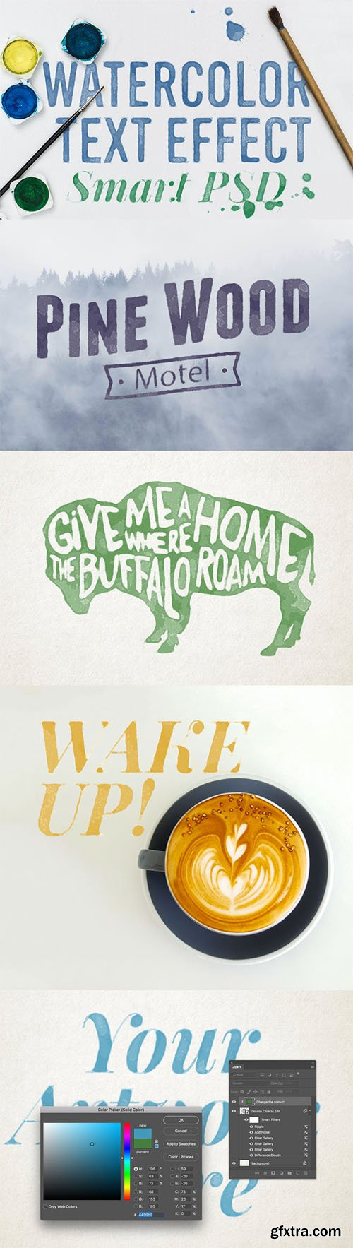 Watercolour Text Effect Smart PSD for Adobe Photoshop