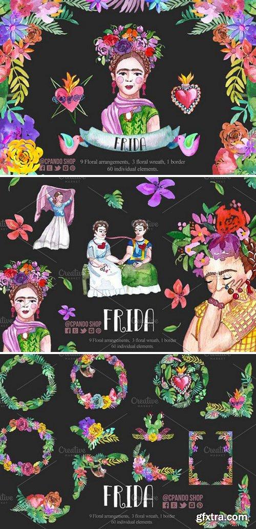 CM - Frida Kahlo watercolor clip art 2340154