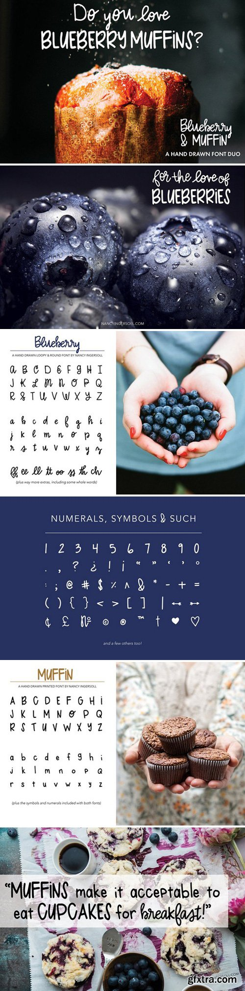 CM - Blueberry Muffin hand drawn font duo 1620290