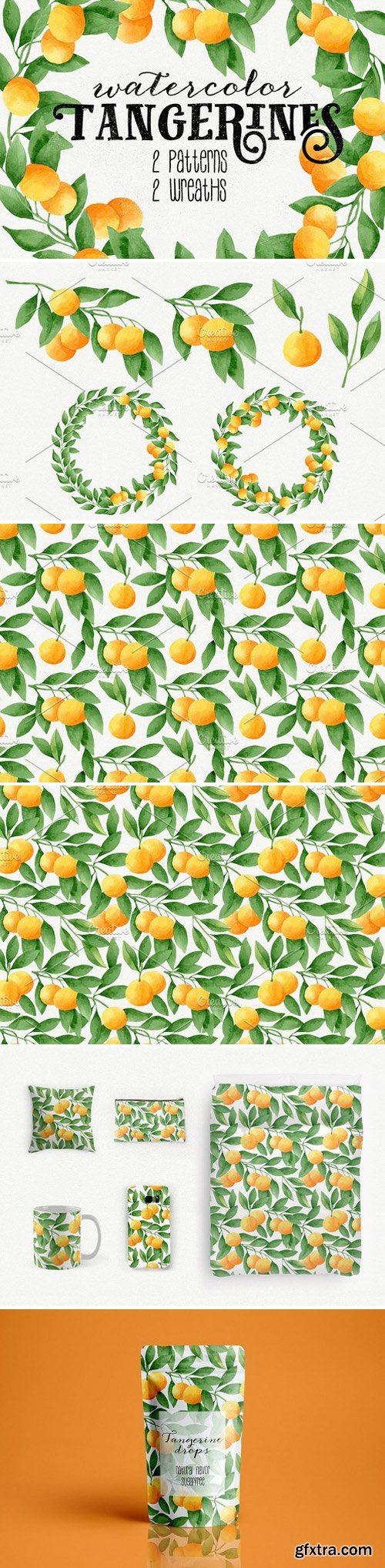 CM - Watercolor Tangerines + Patterns 1492110