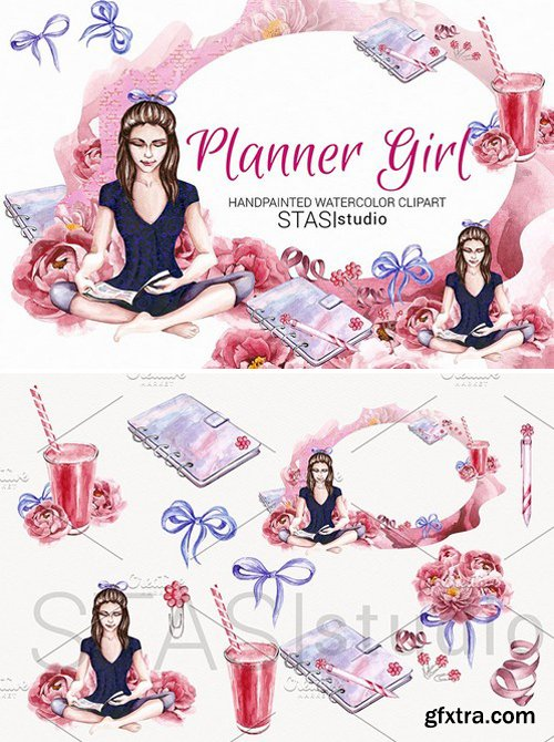 CM - Planner Girl Watercolor Clipart 1593833