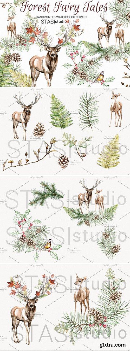 CM - Watercolor Deer Clipart 1590698