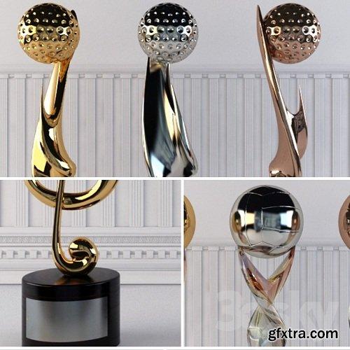 Award Prize Cup Trophy Set 18 Piece Decorative Objects