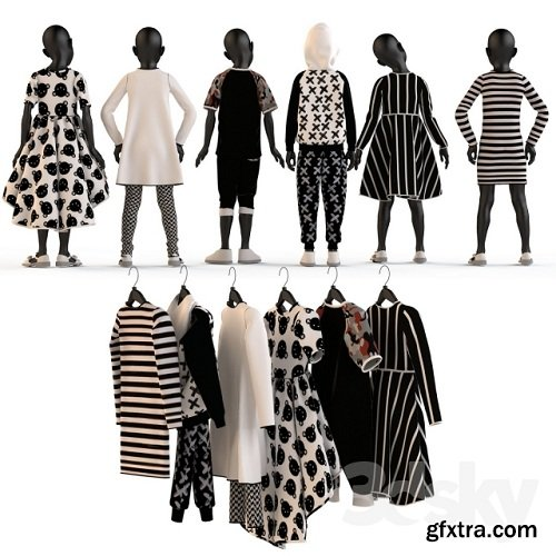 Children\'s clothing on mannequins and hangers