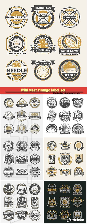 Wild west vintage label set, vector logo, emblem