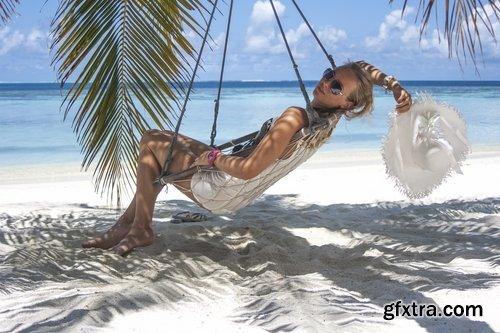 Girl woman in a hammock holiday leisure sea ocean travel beach 25 HQ Jpeg