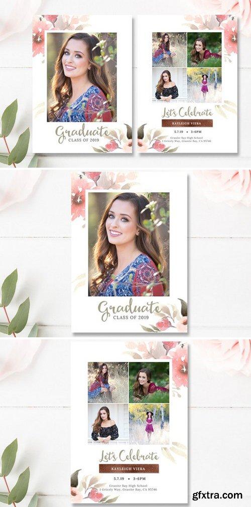 CM - Floral Senior Graduation Invite PSD 2359362