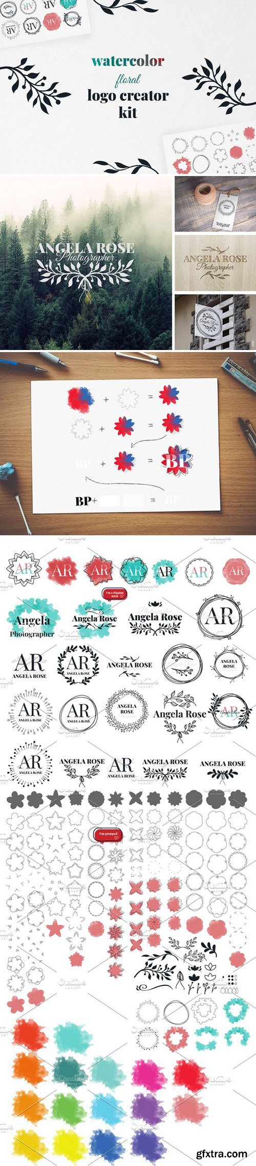 CM - Watercolor floral logo creator kit 2350803