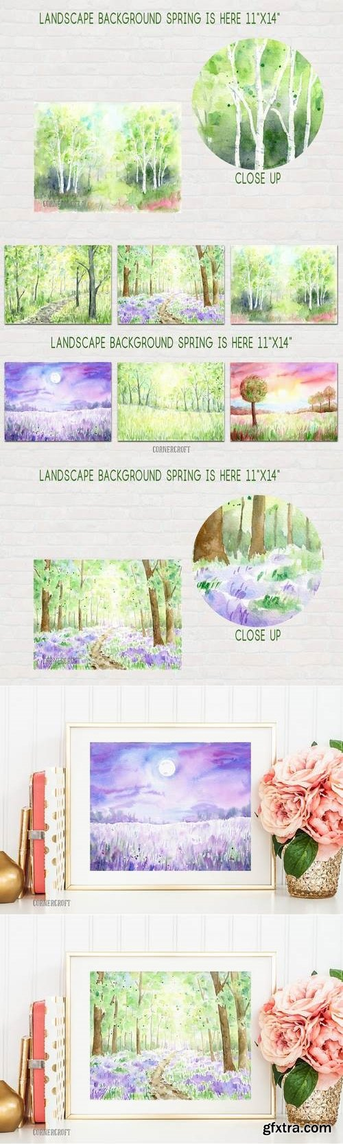 Watercolor Landscape Background Spring is Here