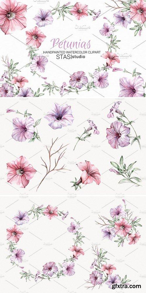 CM - Watercolor Clipart Petunias 1599594