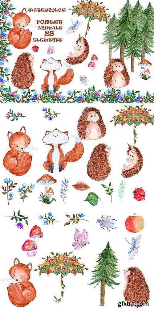CM - Woodland animals clipart 1600320