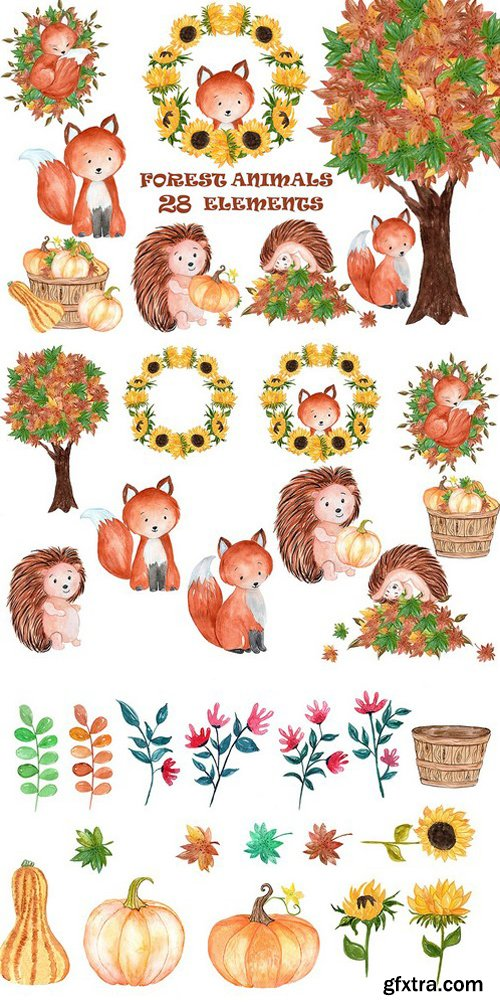 CM - Watercolor forest animals clipart 1600311