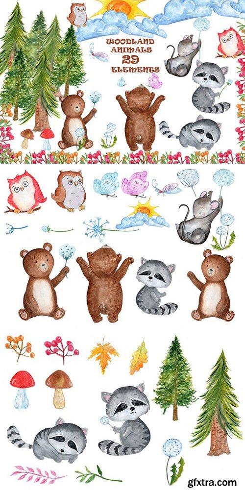 CM - Watercolour forest animals clipart 1600337