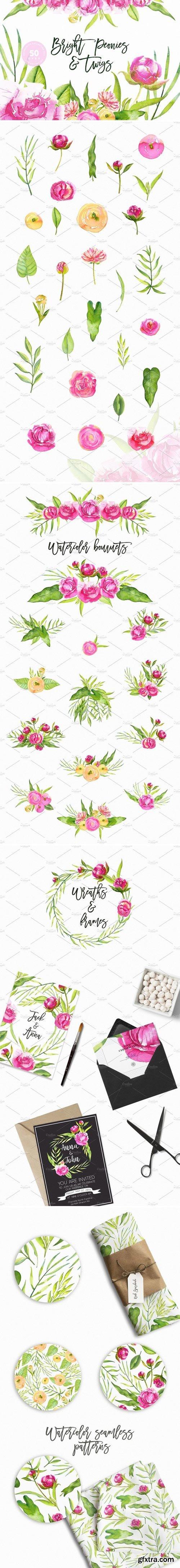 CM - Watercolor Bright Peonies & Twigs 1598910