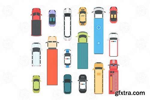 Vehicles - set of modern vector city elements