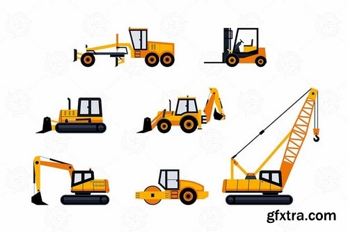 Construction Vehicles - vector flat design icons