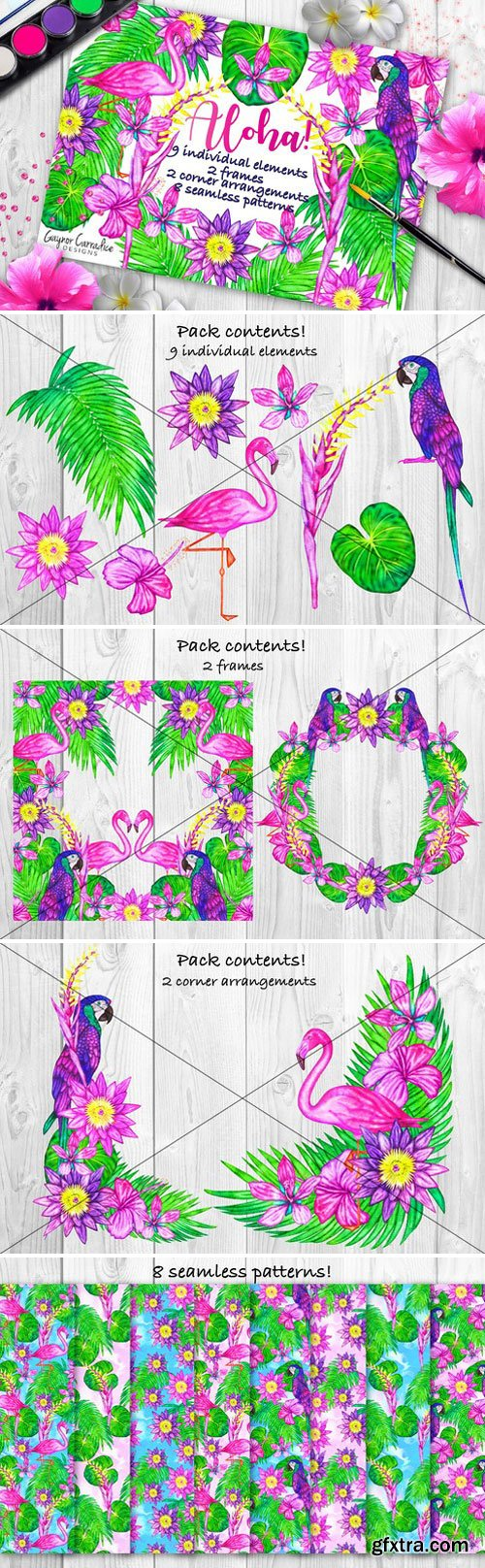 CM - Alloha clipart and seamless patterns 1600764