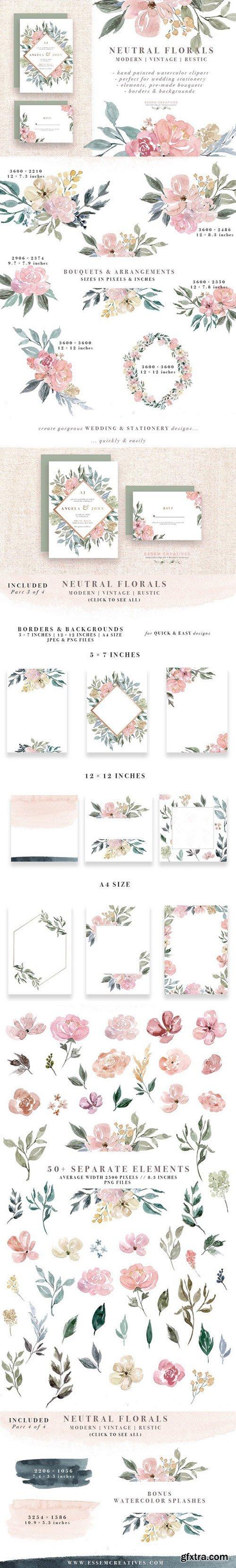 CM - Neutral Watercolor Flower Graphics 1588293