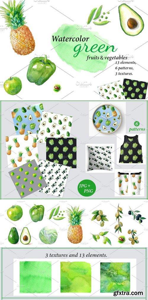 CM - Watercolor green fruits, vegetables 1585971