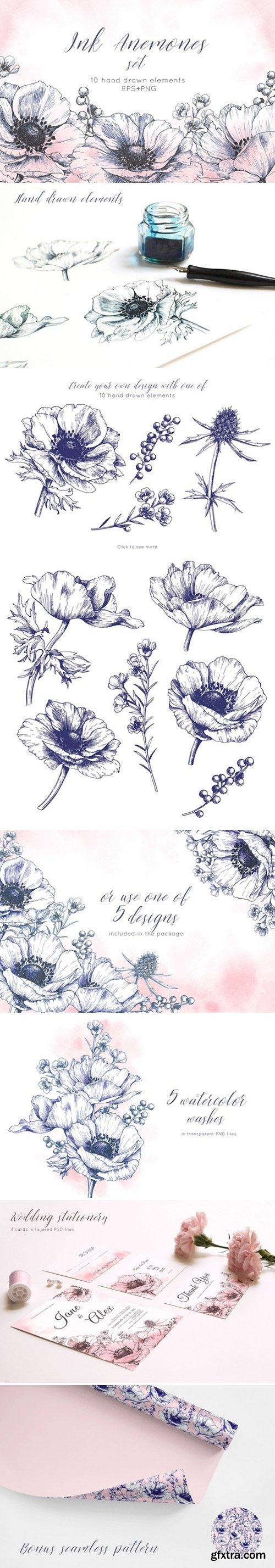 CM - Ink anemone flowers set 2356141
