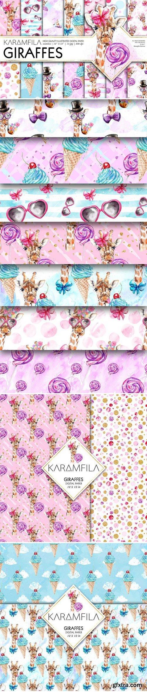 CM - Funny Fashion Giraffes Digital Paper 1584106
