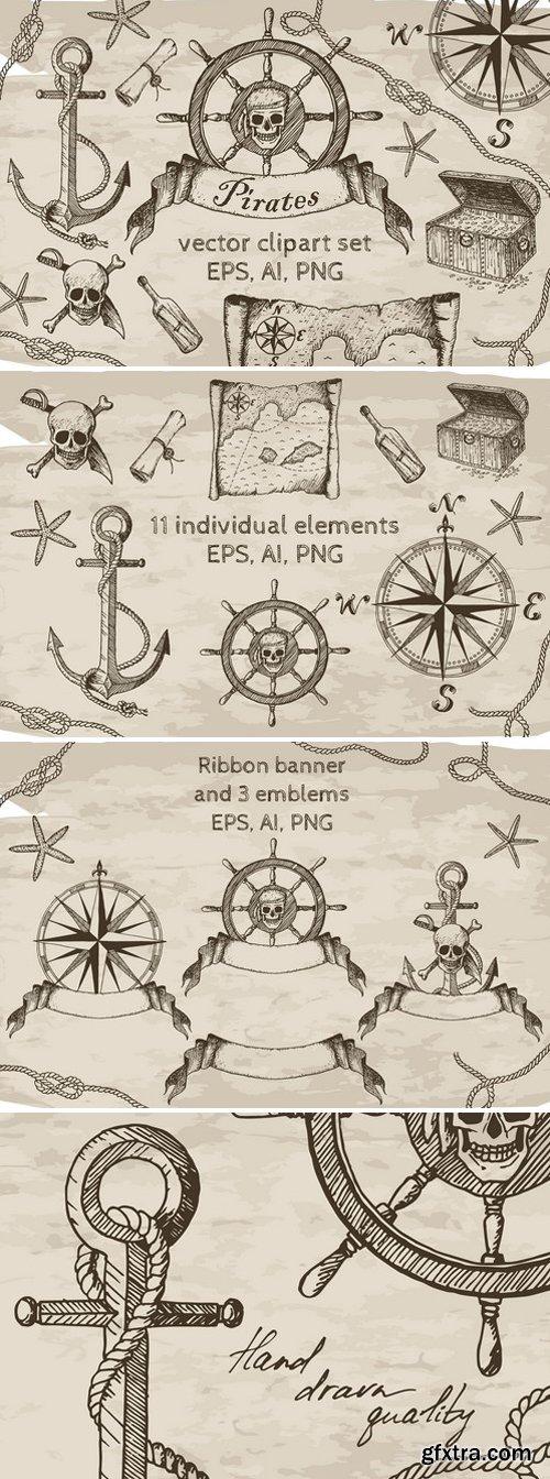CM - Pirates Vector Clipart Set 2357677