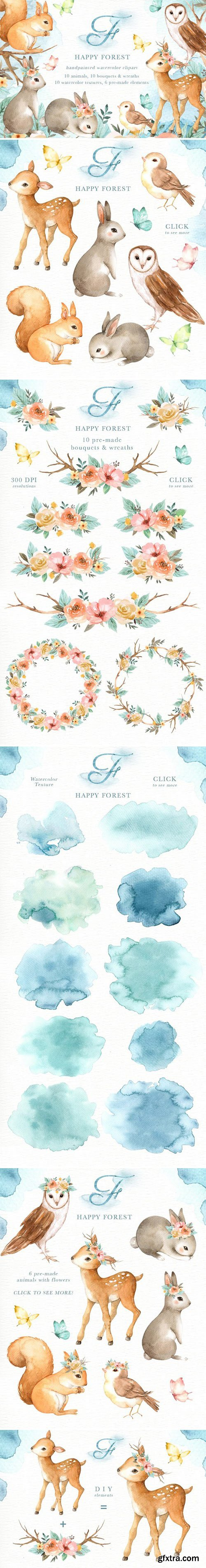 CM - Happy Forest Watercolor Clip Art 2356893
