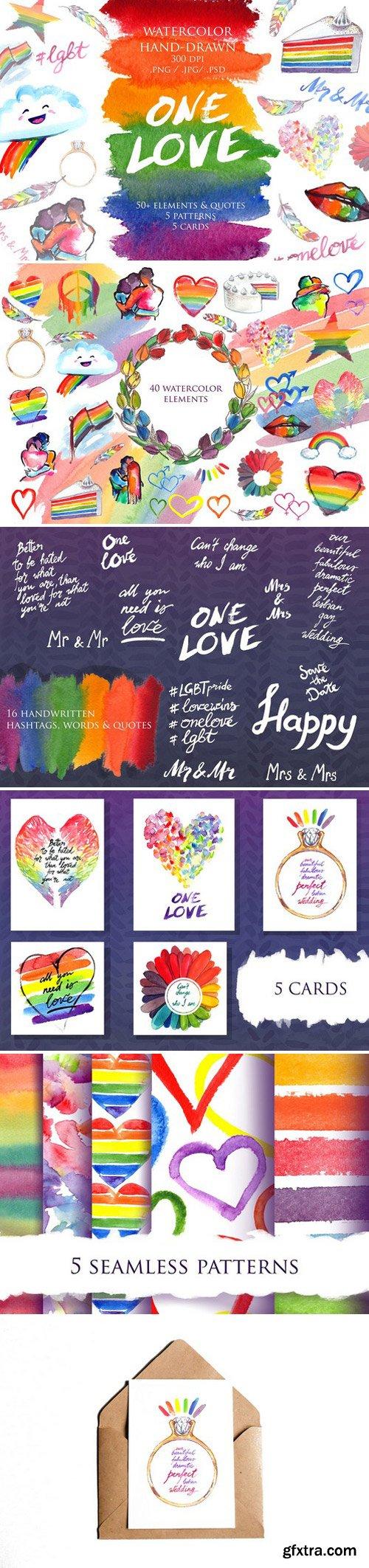 CM - LGBT Pride rainbow watercolor set 2356686
