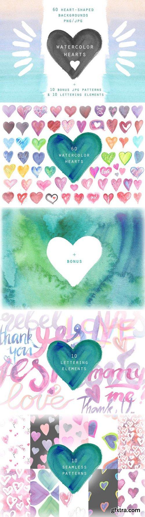 CM - Watercolor hearts. Background set 2356545