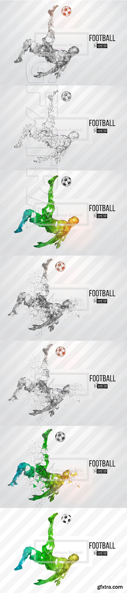CreativeMarket - Silhouette of a soccer player Set 2418938