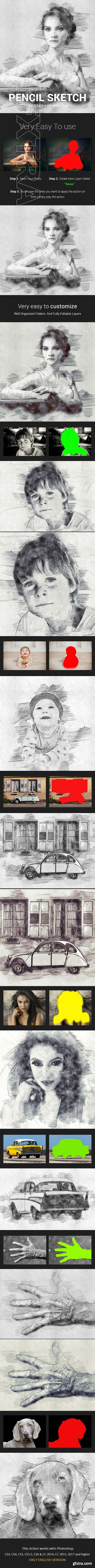 GraphicRiver - Pencil Sketch Photoshop Action Photo Effects 21683660