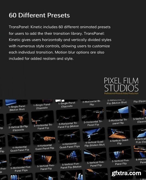 Pixel Film Studios - TransPanel: Kinetic - Kinetic Panel Transitions For FCPX macOS