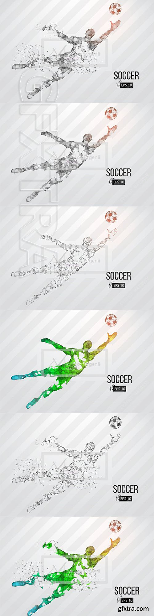 CreativeMarket - Silhouette of a soccer player Set 2418980
