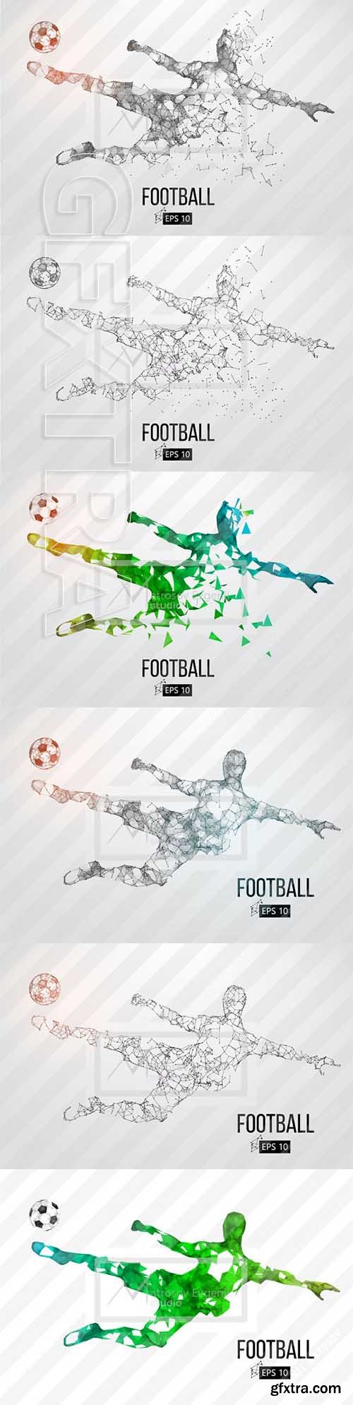 CreativeMarket - Silhouette of a soccer player Set 2418917