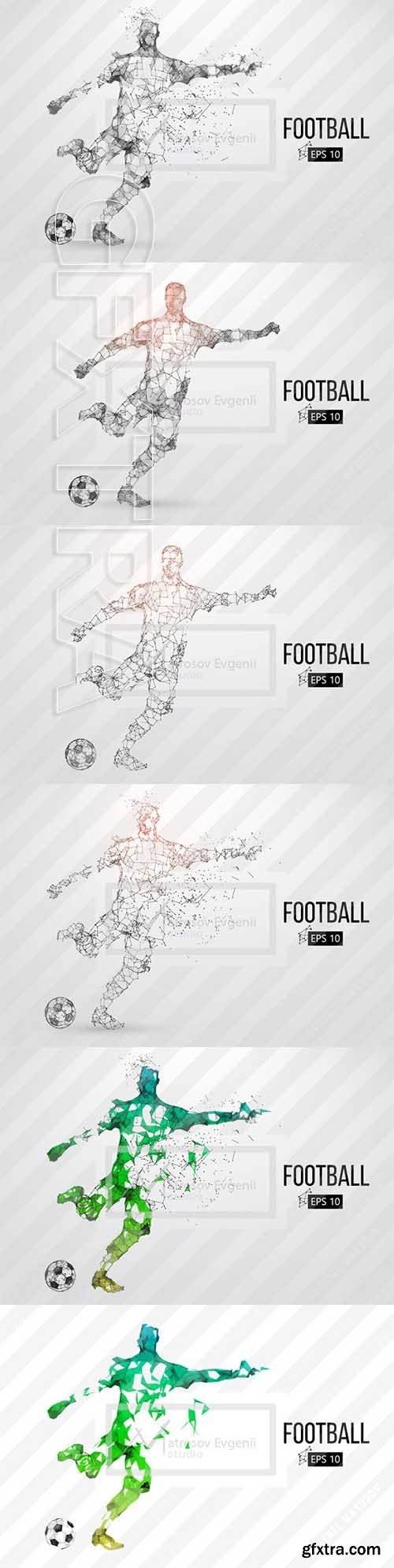 CreativeMarket - Silhouette of a soccer player Set 2418836