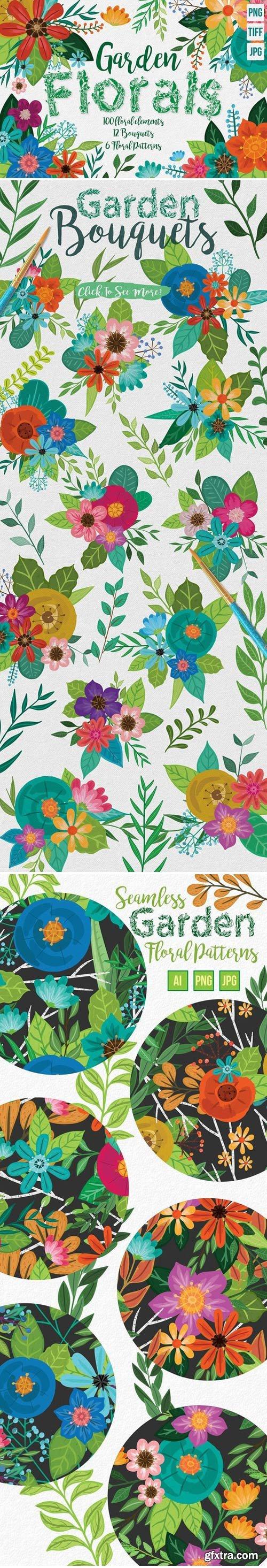 CM - Hand Painted Floral Design Elements 1569511