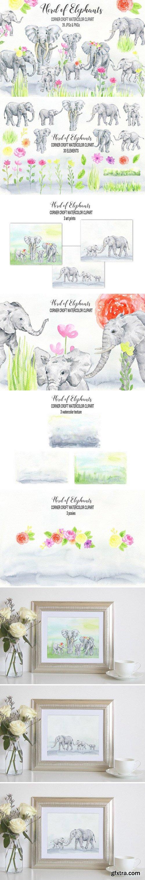 CM - Watercolor Elephant Clipart 2380009
