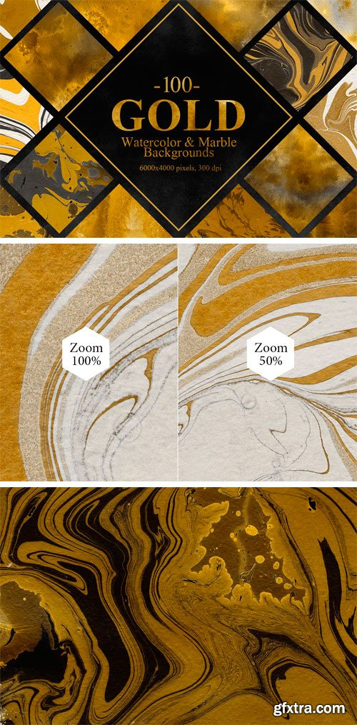CM - Gold Watercolor & Marble Backgrounds 2335814