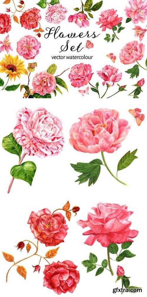 CM - Vector Watercolour Flowers Set 2377987
